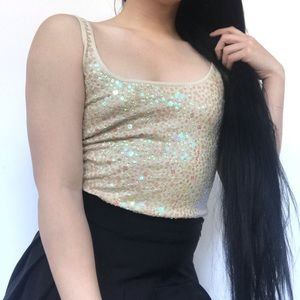 YELLOW SPARKLY PARTY CROP TOP